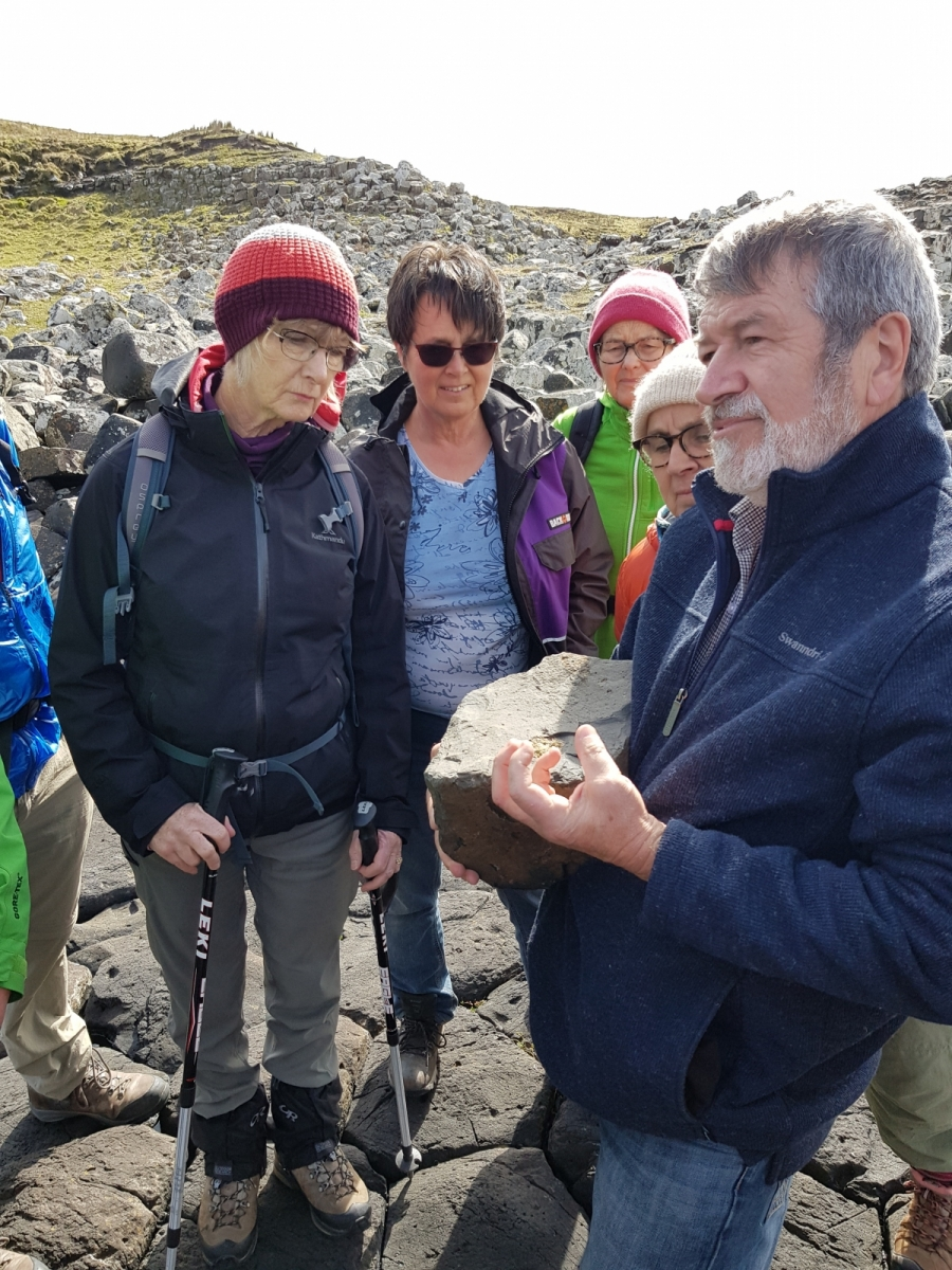 Geologist Hamish Campbell and tour group