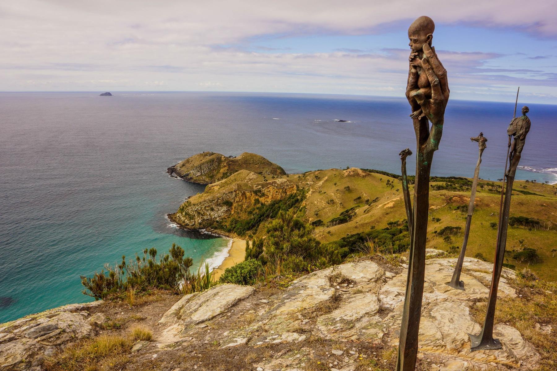 Statues on Mt Hakepa, Pitt Island